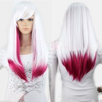 Wholesale Cosplay Lolita Wigs White - FREE SHIPPING>Womens White Rose Red Ombre Lolita Wig Long Straight Gradient Hair Cosplay Party