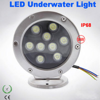 2PCS 9W RGB LED Fountain Pool Light LED Lampes de bateau sous-marines AC / DC12V Acier inoxydable Éclairage extérieur Led Fish Lamp Dock Lights