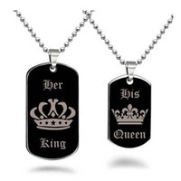 Wholesale Jewelry For Dog Lovers - New King and Queen Necklace Couple Necklaces Titanium Stainless Steel Crown Dog Tag Pendants Chain for Women Men Lover Fashin jewelry 162542