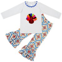 Wholesale Wholesale Clothing Turkey - Kids Clothing Sets Thanksgiving Day Turkey Print Baby Clothes for Girls Outfits Toddler Fashion Tshirt Pants Children Suits