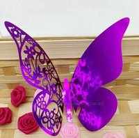 Wholesale Product Places - 300 Pieces Multicolor Table Mark Wine Glass Laser Cut Butterfly Name Place Cards for Wedding Party Decoration Products 13