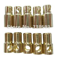 Wholesale Male Bullet Connectors - 100pairs lot hot RC Gold Bullet banana golden 6.0mm connector golden bullet rc plug (male female)
