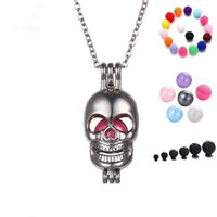 Wholesale Lockets Fragrance - Perfume Fragrance Necklaces Fashion Skull Aromatherapy Locket Essential Oil Diffuser Necklaces & Pendants Women Jewelry