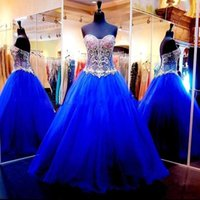 Wholesale Long Sparkly Corset Dress - Bling Sparkly Royal Blue Ball Gowns Quinceanera Dresses Crystal Beaded Corset Back Sweet 16 Sweetheart Long Pageant Organza Gowns 2017