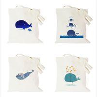 Wholesale Fruit Art Prints - New Cotton Blend Cartoon Fruit Animal Printed Dolphin Series Canvas Totes Bag Art Women Shopping Shoulder Bags