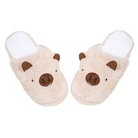 Venda por atacado - 2016 New Warm Soft Sole Mulheres Inverno Indoor Floor Slippers Cartoon Animal Coffee Pink White Platform Flat House Slipper Shoes