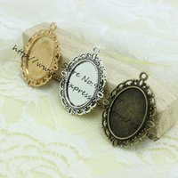 Wholesale Cameo Frame Oval - Free Shipping 20pcs lot Three Colors Tone Oval filigree Frame Cameo Settings 30*40mm (Fit 18*25mm) D0438