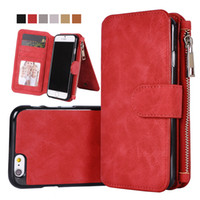Wholesale Magnetic Pu Case - For iphone X 7 6 plus Multi-functional Magnet Detachable Removable Vintage Magnetic Zipper Cover Leather Wallet Case For Galaxy 8 S8 S7 edge