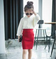 Wholesale Red Ribbon Costumes - Autumn Winter Girl Skirt Kids Elastic Waist Knit Skirt Fashion Girl Costume Red Black 2 Colors