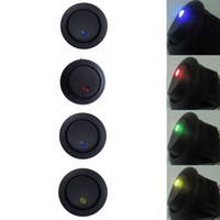 Wholesale Led Rocker Dot Toggle Switch - Car Auto Boat 12V Round Dot Rocker LED Light Toggle Switch SPST ON OFF US 4 colors to choose Free shipiing YY092