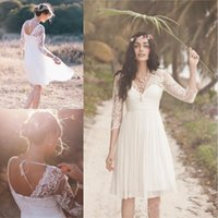 Wholesale Knee Length Maternity Wedding Dresses - 2017 Cheap Boho A-Line Short Beach Wedding Dresses Sheer 3 4 Long Sleeve V Neck Pleated Knee Length Chiffon Bridal Gown