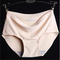 Wholesale Lady Panty Stock - Free shipping seamfree ice silk female comfortable intimate summer lady panty briefs with cotton crotch in stock