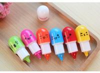 sevimli renkli kalemler toptan satış-Satış için 100 adet Özgünlük Sevimli Kapsül Hapları Tükenmez Kalemler çocuklar fabrika fiyat için küçük renkli hediye