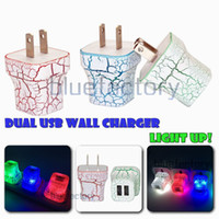 Wholesale Power Led Color - LED Dual USB Wall Charger Cracks Style Color Glowing Light UP 5V 1A 2A AC Travel Home Charging Power Adapter for iphone Samsung High Quality