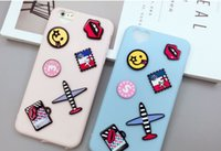 Wholesale Aircraft Fittings - For iPhone 7 Fashion Cute 3D Cartoon Blue Aircraft Kiss Lips Soft Silicone Case Cover For iPhone 7plus New Phone Cases Bag Girls