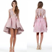 Reference Images sexy cocktail dresses - 2016 Custom Made A Line Long Sleeves High Low Cocktail Party Dresses Lace Applique Plunging Homecoming Gowns Prom Short Mini Dresses BA1069