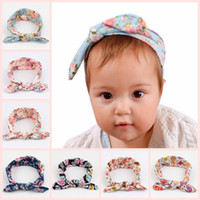 Wholesale Childrens Fabric Flower Headbands - 2016 Baby Bow Headbands Fabric Flowers Rabbit Ears Hair Accessories Head Wrap for Girls Infant Soft Bunny Headband Childrens Hair Thing
