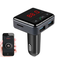 Wholesale Iphone Bluetooth Handsfree Car Kit - New Handsfree BC12B Wireless Bluetooth Car Kit FM Transmitter Radio Support U Disk MP3 Player Phone APP Control Car Charger