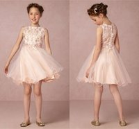 Wholesale Kids Wearing Mini Skirts - Lovely Blush Pink Short Tulle Flower Girls Dresses Lace Appliques Top Ruffles Skirt Girls Pageant Gowns First Communion Kids Formal Wear