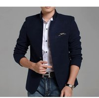 Wholesale Tunics For Men - 2017 Corduory Slim Single Breast Blazers Men Stand Collar Chinese Style Suit Jackets for Men Chinese Tunic Suit Men Blazers