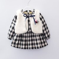 Wholesale Two Pieces Elegant Styles - INS styles new Girl kids winter long sleeve o-neck plaid design dress and vest girl two piece sets dress girl thick elegant dress