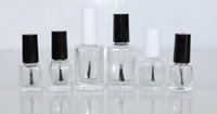 Wholesale nail polish bottles wholesale - 5ml 10ml 15ml Transparent Glass Nail Polish Bottle with Lid and Brush Mini Empty Cosmetic Make-up Container