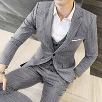 Wholesale Men Spring Cool Wear - Cool Muscle Men Formal Wear Custom Made 3 Pieces Groom Wear One Button Pinstripe Wedding Suits For Men