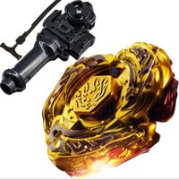Wholesale Beyblade Metal Masters L Drago - Wholesale-Best Birthday Gift Hot Sale New L-DRAGO GOLD 4D TOP METAL FUSION FIGHT MASTER BEYBLADE lighted musical Toys Beyblade-Launchers p