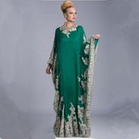 ingrosso elegante arabica caftan abayas-Appliques Arabian Kaftan Abiti da sera Arabo Abaya Dubai Elegante Una linea da sera con maniche lunghe