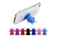 Wholesale Silicone Android Robot - New Desgin Android Robot Cellphone Holder Mounts Suction Cups Cute Holder Silicone Sucker Car Holder for All Mobile Phone