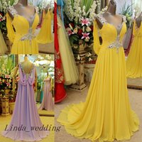Wholesale Violet Gowns - Free Shipping Emerald Green Yellow And Violet Evening Dresses New Arrival Floor Length Long Beaded Backless Formal Chiffon Party Gowns