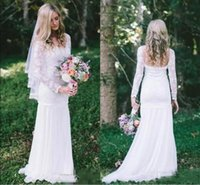 Wholesale T Shirt For Beach - 2018 Cheap Country Bohemian Mermaid Wedding Dresses Full Lace Sheer Long Sleeves Sweep Train Bridal Gowns For Garden