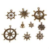 enviar joyas de timón al por mayor-Envío gratis nuevo 43 unids / lote aleación de zinc plateado bronce antiguo encantos del timón de la vendimia colgantes tibetanos DIY pulsera collar joyería que hace DI