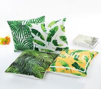 подушечки для подушек оптовых-Имитированная шелковая ткань зеленый лист шаблон наволочка цифровая печать бытовая наволочка Home decor наволочка
