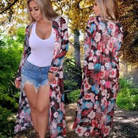 Wholesale Womens Sleeved Cardigans - Autumn Fall Womens Casual Fashion Long Sleeved Flower Floral Print Open Front Cardigan