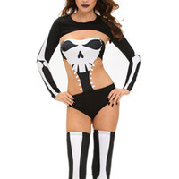 Wholesale Scary Zentai Costume - Deameng Europe and the United States Halloween Seductive Skeleton Clothing Long-sleeved Shirt Sexy Tight Pants Stage Equipment