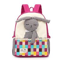 Wholesale School Bags Handbags - Children Canvas Backpacks Girls Cartoon Animal Design bags 3D Cute Rabbit School Bag Kids Kindergarten Backpack Girl Gift Handbags Mochila
