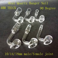 Wholesale Tips For Clear Nails - Clear Quartz 4mm thick quartz nails Tips 90 degree club banger domeless 10 14 18mm male female for smoking glass bongs water tool