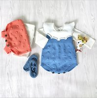 Wholesale Infant High Tops - INS 3 colors New fall infant Kids romper Sleeveless ball top baby climbing clothes Knitting wool romper high quality cotton autumn romper