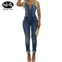 Wholesale Casual Washed Womens Overalls - Wholesale- Women Denim Jumpsuits Casual Sexy Sleeveless Bodysuit Skinny Strap Ripped Pockets Womens Washed Stretch Romper Overall Jeans