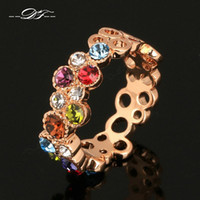 Wholesale Gypsy Rose Wholesale - Colorful Austrilian Imitation Crystal Finger Rings 18K Rose Gold Plated Fashion Brand Vintage Wedding Jewelry For Women DFR028