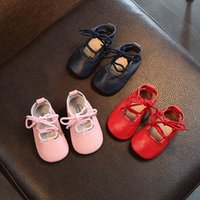 Wholesale Baby Navy Tie - New Arrival Children Baby Shoes Leather Cross-tied Kid Girl First Walkers Shoe Soft Girl's Party Casual Wear Shoes Red Pink Navy A7449