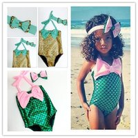 Wholesale Little Girl Bikini Swimsuit - 2016 New Lovely Girls Little Mermaid Bikini Suit Swimming Costume Swimsuit Swimwear With Cute Headband 2-7years Children Swim Clothes