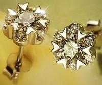 sterling silber schneeflocken ohrringe großhandel-925 Sterling Silber Designer Ohrringe für Frauen Koreanische Authentische Schneeflocke Herz Ohrringe Ohrstecker mit Kristall Großhandel