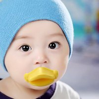 Wholesale Big Dummy - Baby Pacifier Clips NEW Arrival Funny Infant Pacifier Yellow Duck Mouth Big lips Newborn Pacifiers Silicone Nipple Dummy Teether