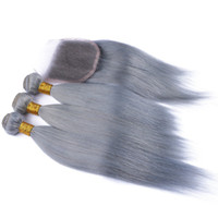 Wholesale Wholesale Gray Weaving Hair - Brazilian Gray Hair Weave 3 Bundles With Closure 4Pcs Lot Sliver Grey Silky Straight Human Hair With Free Middle Three Part Lace Closure