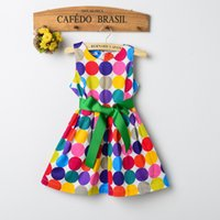 Wholesale Low Price Suspenders - Low price Children's clothing cute Dot Girls Bow Dresses Red Dot Kids Babies Korean Style Suspender Dress