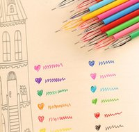 zakka mignon achat en gros de-Gros- [YYYYAAAA] 12pcs / Lot Gel Pen avec Diamant Cute Cartoon Kawaii Zakka Couleur Pen For School Student Enfants Fournitures gros