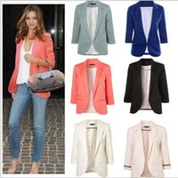Wholesale blazers wholesale - Women's Blazers Ladies Business Coats Office OL Fashion Jackets Slim Tops Casual Blouse Formal Vestidos Clothing Casual Outwear KKA2736