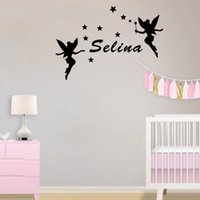 Wholesale Pink Fairy Wall Stickers - Two Fairies Around Kids Name Personalized Wall Stickers Stars Decor Decals for Girls Room